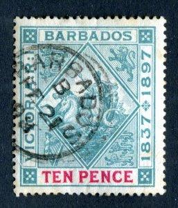 Barbados 1897 QV. Diamond Jubilee. 10d blue green & carmine. Used. SG123.