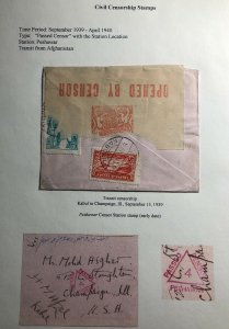 1939 Kabul Afghanistan Early Civilian Censorship Cover To Champaign IL USA