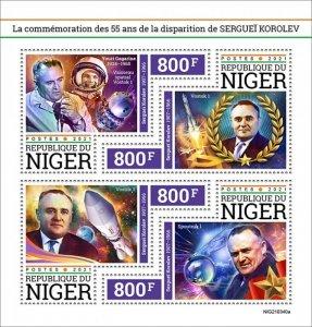 NIGER - 2021 - Sergei Korolev - Perf 4v Sheet - Mint Never Hinged