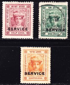 India Indore Scott O1-2, O6  F to VF mint & used.