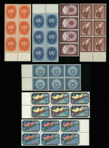 UN UNITED NATIONS Postage Stamp Collection Blocks USA New York Mint NH OG