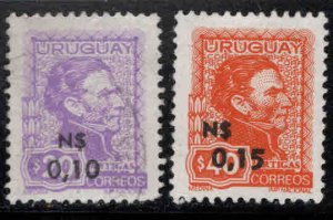 Uruguay Scott 929-930 Used surcharged Artigas stamps