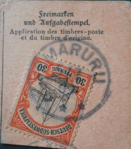 German South West Africa 1901 Thirty Pfennig with OMARURU postmark