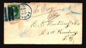 US 1876 Chicago Cover / Fancy Blue Cancel - Z18623