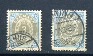 Denmark 1875 Sc 25 2 stamps Used 8463