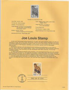 US 2766, JOE LOUIS, SOUVENIR PAGE