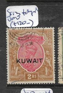 KUWAIT (P01003B)  ON INDIA KGV 2R TELEGRAPH CANCEL SG 13  VFU