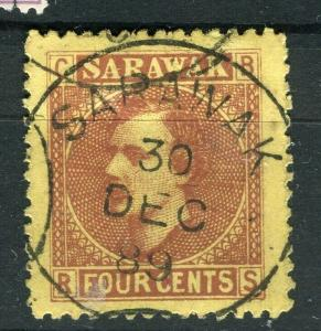 SARAWAK; 1875 early classic C. Brooke issue fine used 4c. value