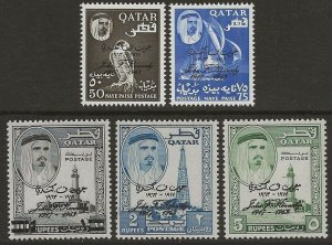 Qatar 1964 Kennedy Commemoration Ovptd Set Scott #42-46 VF-NH CV $52.25