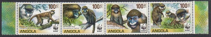Angola WWF Monkeys Guenons strip of 4