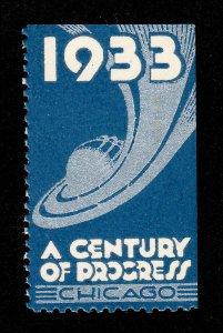 POSTER STAMP 1933 ⭐ A CENTURY OF PROGRESS ⭐ CHICAGO ILLINOIS MNH-OG