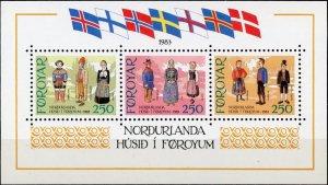 101 Nordic Costumes Nordens Hus MNH S/S CV$10 1983 Flags Nordiska Folkdräkter