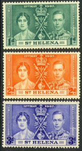 ST HELENA 1937 KGVI CORONATION Set Sc 115-117 MNH
