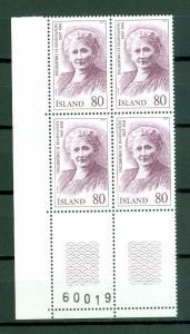 Iceland. 1979 Icelanders IV, 80 Kr. Plate # 60019. Block of 4,Mnh. Scott# 521.