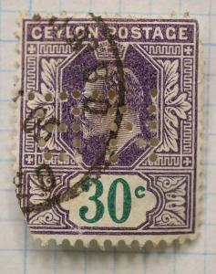 Ceylon sc#174 used 30c stamp perfin NB n.b.
