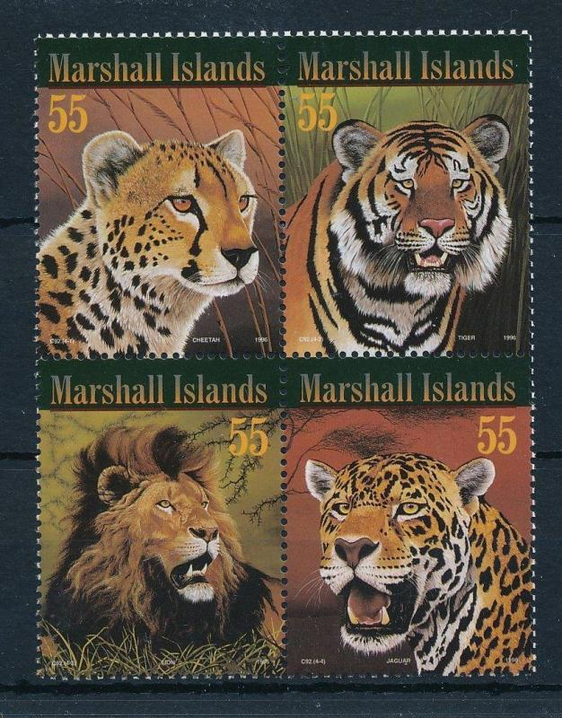 [24005] Marshall Islands 1996 Wild animals Lion Jaguar Tiger Cheetah MNH