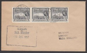 BR GUIANA 1957 ship cover with cachet of MS MENTOR..........................T114