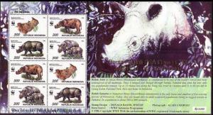 Indonesia WWF Javan and Sumatran Rhinoceros Sheetlet of 2 sets with overprint