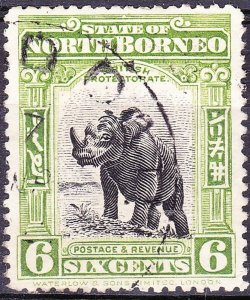 NORTH BORNEO 1909 6 Cents Olive-Green SG167a Used