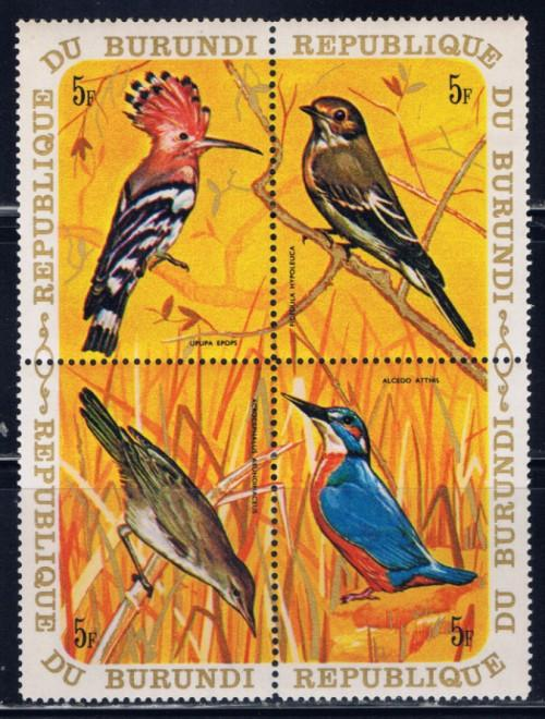 Burundi 341 NH 1970 Birds block of 4
