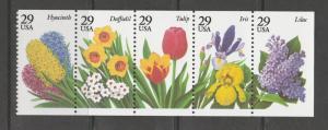 USA 1993 Garden Flowers UM/MNH strip SG 2795/9