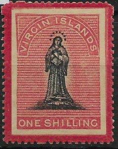 VIRGIN ISLANDS SG19 1/= BLACK & ROSE-CARMINE TONED PAPER MTD MINT