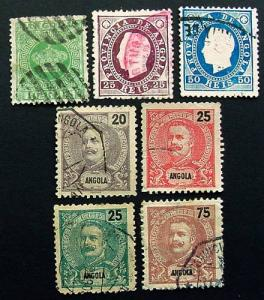 Packet, Angola, 7 Different Stamps, Scott 10 // 50