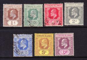 LEEWARD ISLANDS 1907-11    KEVII  PART SET M&U