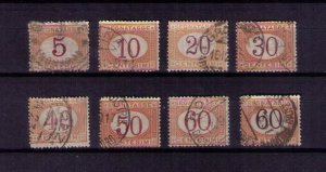 ITALY Sc #J5-J12 Incomplete set of eight postage due F-VF used