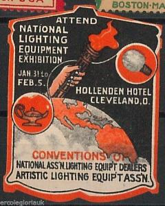 Vintage POSTER STAMP - USA 1910'S -- CLEVELAND LIGHTING EXHIBITION Electricity