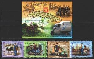 Cuba. 2016. 6072-75, bl335. 260 years of mail in Cuba, postal transport. MNH.