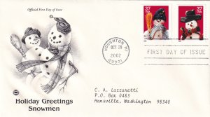 2002, Holiday Greetings-Snowmen, PCS, FDC (E12216)