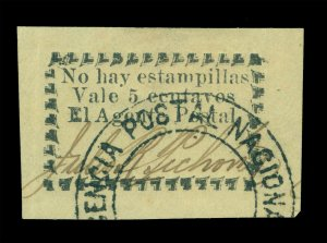 COLOMBIA 1901 RIO-HACHA - Local stamps 5c yellow- used - Postal clerk signed - R