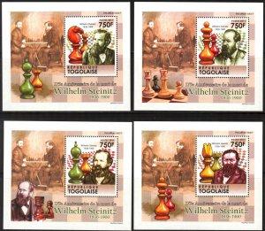 {079} Togo 2011 Chess W. Steinitz 4 S/S Deluxe MNH**