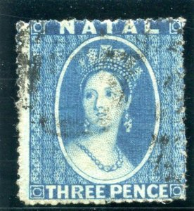 Natal 1862 QV 3d blue very fine used. SG 12. Sc 12.