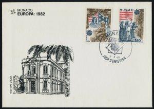 Monaco 1329-30 on FDC -  Europa, Treaty of Peronne