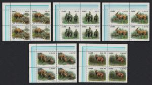 Zaire Wild Animals 5v Corner Blocks of 4 SG#1412-1416 MI#1079-1083 SC#1403-1407
