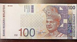 C) MALAYSIA BANK NOTE 100 RINGGITS UNC ND 1998