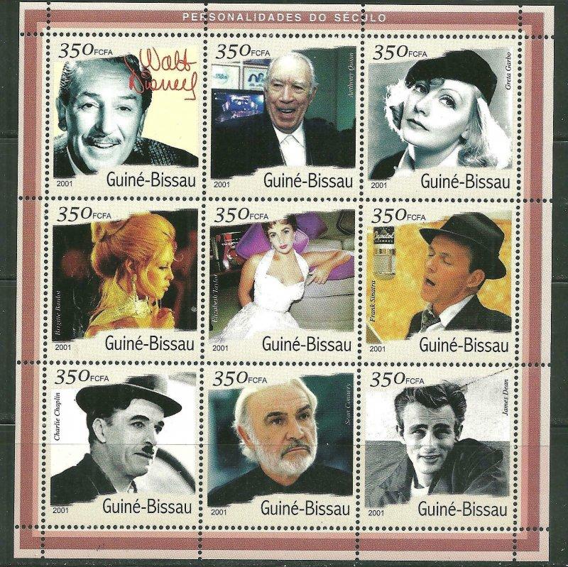 Guinea-Bissau MNH S/S Movie Stars 2001 9 Stamps