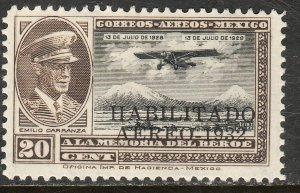 MEXICO C43, CAPT. E. CARRANZA HABILITADO 1932.UNUSED, H OG. F. (784)