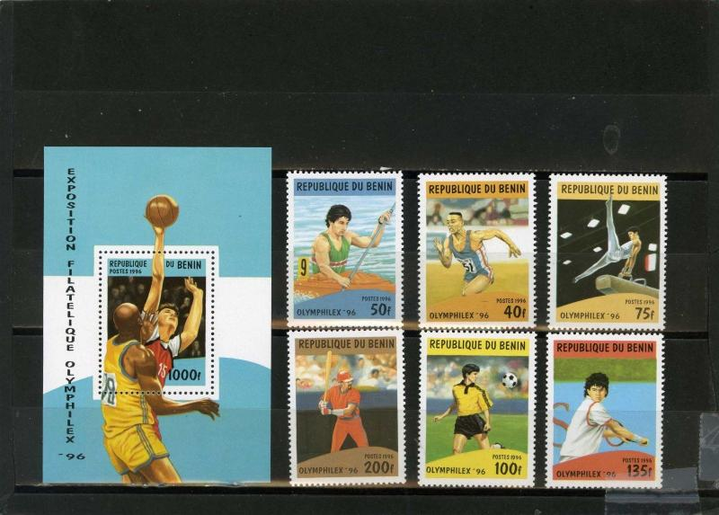 BENIN 1996 Sc#857-863 SUMMER OLYMPIC GAMES ATLANTA SET OF 6 STAMPS & S/S MNH