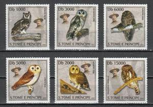 St. Thomas, Scott cat. 1503 A-F. Scout Baden Powell & Owls issue.