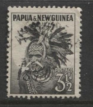 Papua New Guinea- Scott -139 - Headdress -1958 -VFU -Single 3.1/2p Stamp