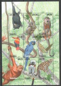 PK194 1998 MADAGASCAR FAUNA WILD ANIMALS BIRDS INSECTS SH MNH STAMPS