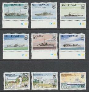 Tuvalu Sc 543-548, 555-557, MNH. 1990 Battleships & UN Development, 2 cplt sets