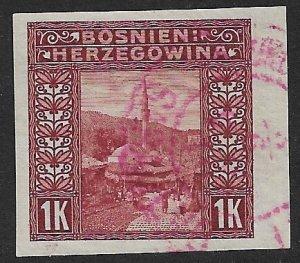 BOSNIA AND HERZEGOVINA 1906 1K Mosque Imperf  Sc 43b VFU