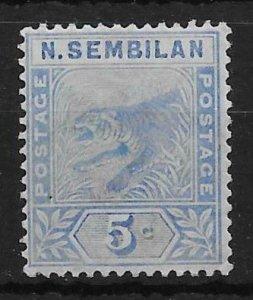 MALAYA NEGRI SEMBILAN SG4 1894 5c BLUE MTD MINT