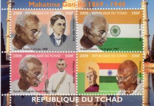 Chad 2009  Gandhi 1869-1848 Sheetlet (4) Perforated MNH