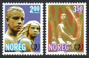 Norway 863-864, MNH. Intl. Youth Year. Stone and bronze sculptures, 1985