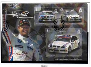Guernsey Sc 971 2008 Andy Priaulx Champion stamp sheet used